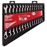 Milwaukee Tool - 48-22-9516 Metric Combination Ratcheting Wrench Mechanics Tool Set (15-Piece)